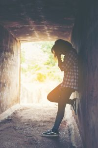 Sad woman standing and cry feeling so bad,loneliness,sadness,nob